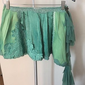 Hand dyed green cotton, silk and lace skirt